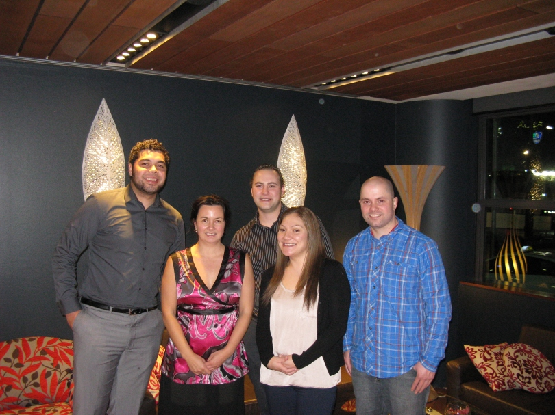 The Reunion Committee 6 July 2013.  From left to right:  Daniel Guttenbeil-Fifita, Ele Thomson, Tony Muller, Daphne Guttenbeil, Daniel Thomson